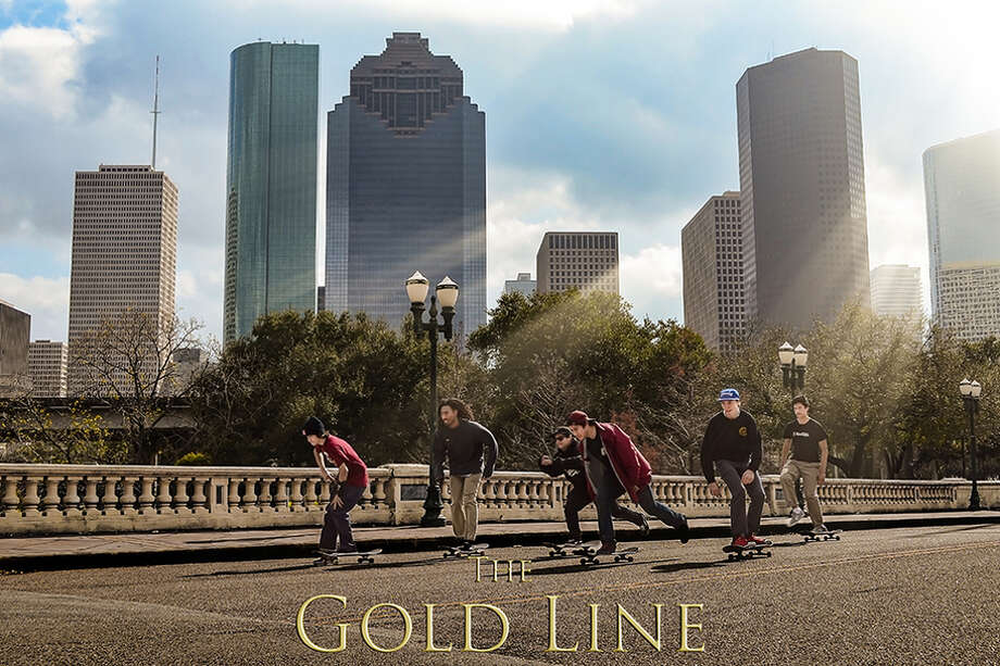 "Cover poster for ""The Gold Line,"" a documentary about Houston skateboard culture."