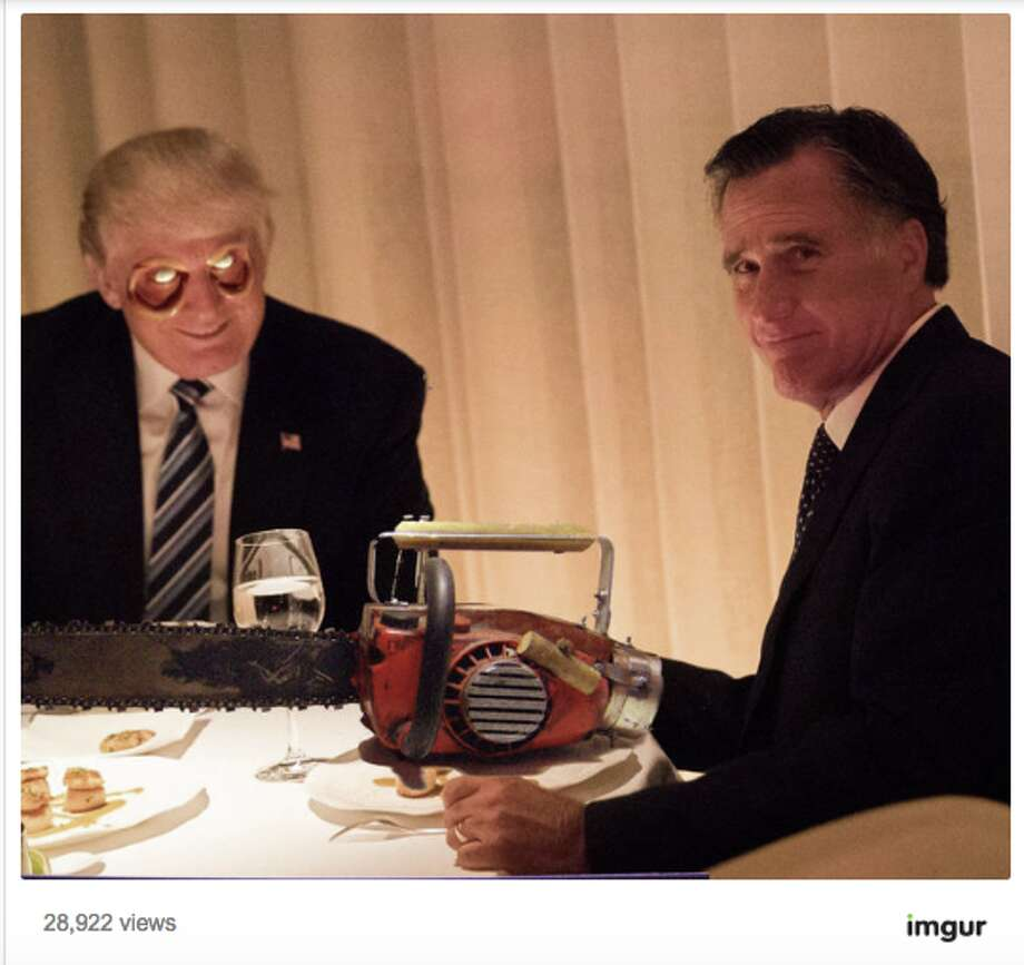 A dinner meeting between President-elect Donald Trump and Republican Mitt Romney inspired a flurry of memes. Photo: Imugr Screen Grab