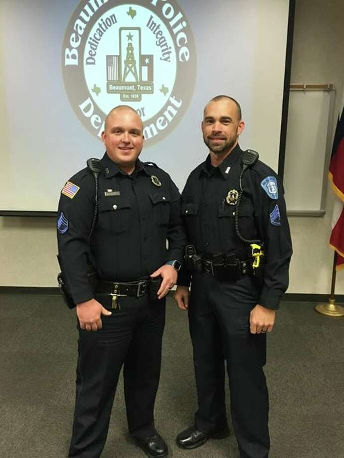 Christopher Brinkmeyer and Aaron Pickering were promoted to the rank of Sergeant on Tuesday, Nov. 30, 2016. Photo: Beaumont Police Department