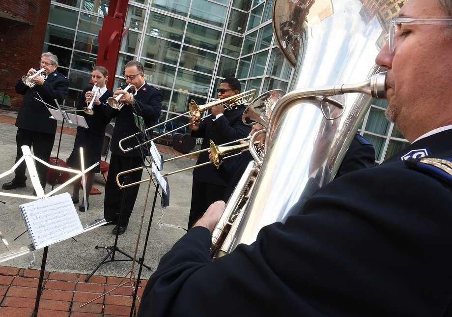 The Salvation Army brass band plays during the Capital Region Salvation Army Annual Red Kettle Kick-off in front of the Troy Atrium on Thursday, Nov. 17, 2016 in Troy, N.Y. (Lori Van Buren / Times Union) Photo: Lori Van Buren/Albany Times Union