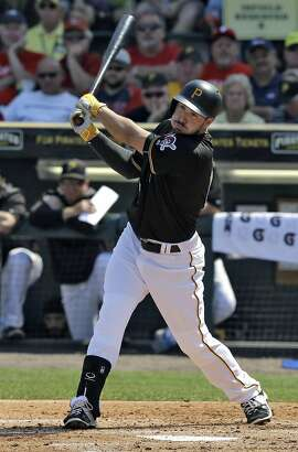 Pittsburgh Pirates' Matt Joyce bats against the Philadelphia Phillies during the third inning of a spring training baseball game Monday, March 7, 2016, in Tampa, Fla. (AP Photo/Chris O'Meara)