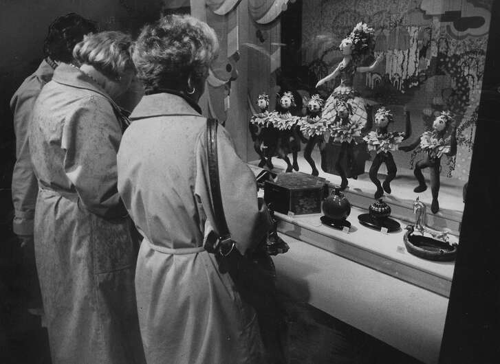Store window at Gumps in San Francisco, Christmas, December 3,  1980.