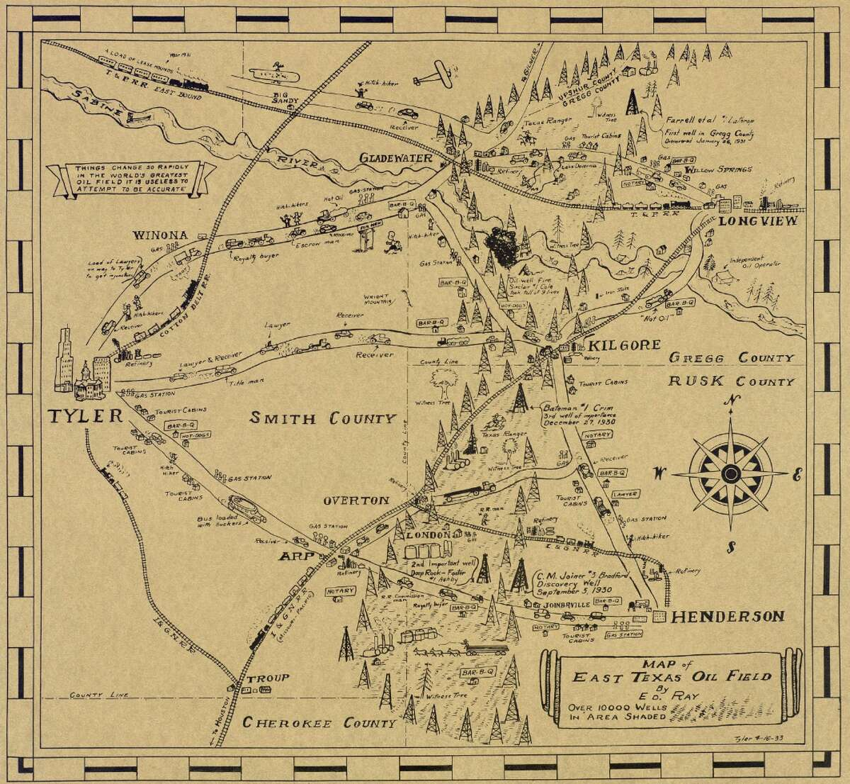 PHOTOS:Old map of Texas oilfields is a trip through time Keep going for a more detailed look at the map. Source: The Texas General Land Office