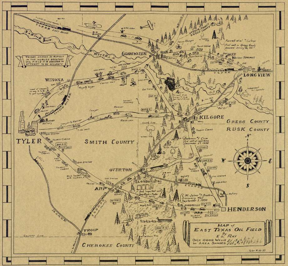 PHOTOS:Old map of Texas oilfields is a trip through timeKeep going for a more detailed look at the map.Source: The Texas General Land Office Photo:  The Texas General Land Office