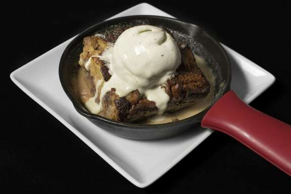 Chocolate chip brioche bread pudding and mint chocolate chip ice cream at Feast.