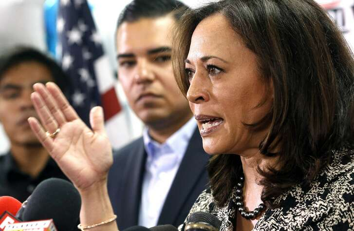 Senator-elect Kamala Harris meets with immigrant families and their advocates to discuss the election results and the nation's future at The Coalition for Humane Immigrant Rights in Los Angeles, Thursday, Nov. 10, 2016. Harris said she will fight to preserve protections advocates fear could be dismantled once Donald Trump becomes president. (AP Photo/Nick Ut)