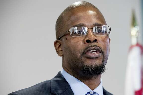 Incoming Washington Schools Chancellor Antwan Wilson speaks at a news conference at Easter High School in Washington, Tuesday, Nov. 22, 2016, on the announcement of his new role. (AP Photo/Andrew Harnik)