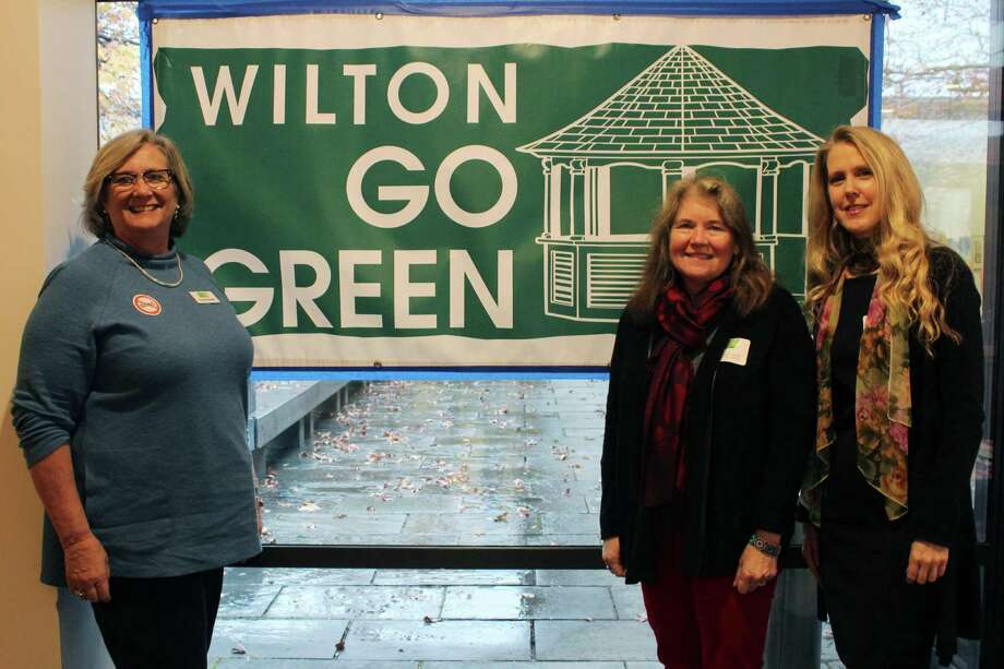 Wilton Go Green members at the first town symposium on Tuesday, Nov. 29, 2016 (from left to right): Peg Koellmer, president; Tina Duncan, symposium chair; and Daphne Dixon, executive director. Photo: Stephanie Kim / Hearst Connecticut Media