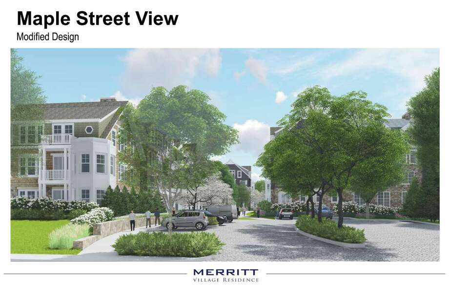 An architectural rendering for M2 Partners' approved Merritt Apartments redevelopment. Photo: Contributed Photo / New Canaan News