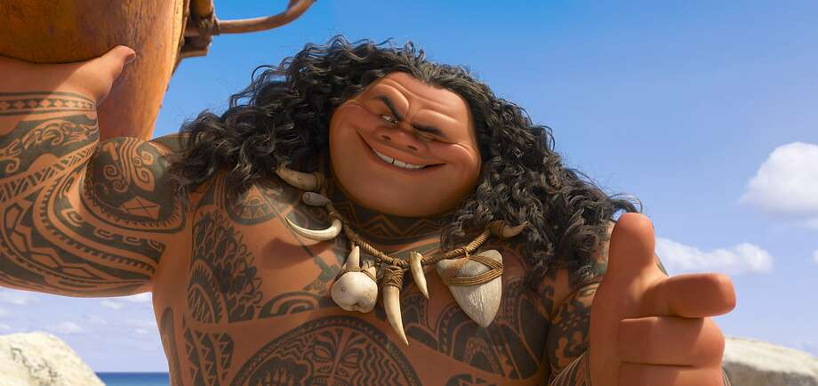 """The demigod Maui, as voiced by Dwayne Johnson in """"Moana,"""" is getting mixed reviews from Pacific Islanders. Photo: Associated Press"""