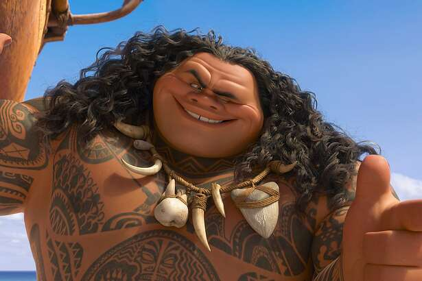 """This image released by Disney shows Maui, voiced by Dwayne Johnson in a scene from the animated film, """"Moana.""""  Disney's animated movie """"Moana"""" debuted to critical acclaim and box office success over the Thanksgiving weekend, but some people in the South Pacific dislike how it depicts their culture. (Disney via AP)"""