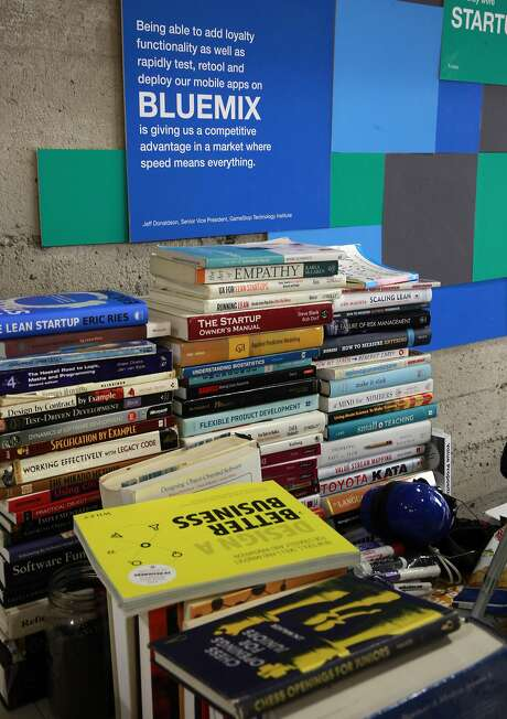 Books are stacked at the IBM Bluemix Garage work space. IBM sought space at the Galvanize building so employees can mingle with workers at startups. Photo: Michael Macor, The Chronicle