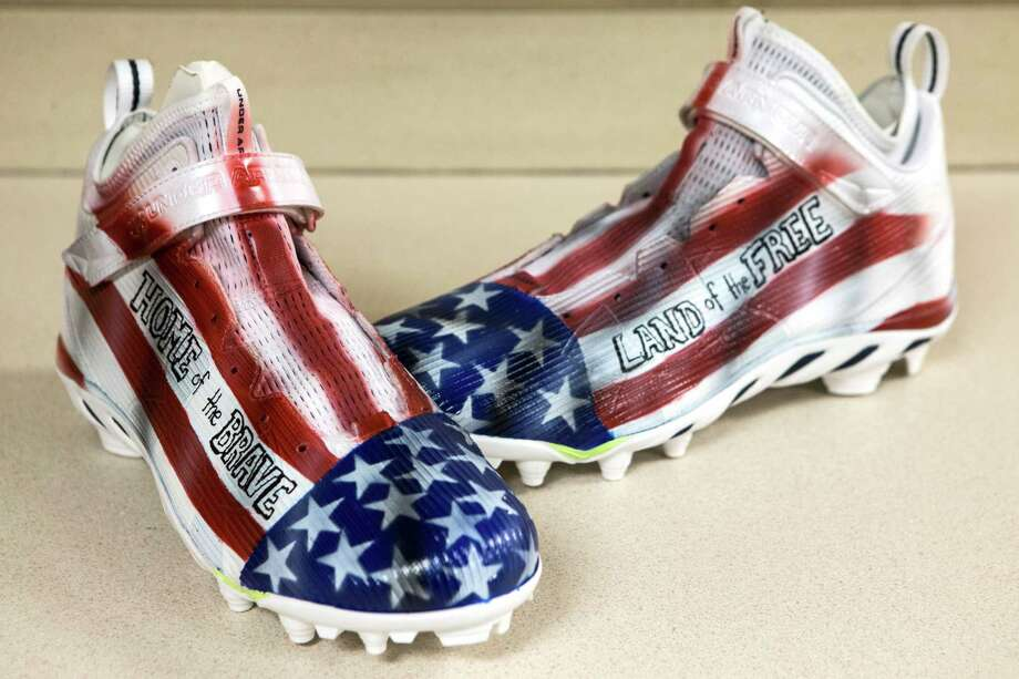 Houston Texans inside linebacker Brian Cushing's custom cleats, supporting the United States military through the Brian Cushing Foundation, are shown at NRG Stadium on Wednesday, Nov. 30, 2016, in Houston. Texans players will wear customized cleats as part of the NFL's My Cause, My Cleats campaign. More than 500 players are planning to showcase their causes by wearing the cleats on the field during the week 13 games. Photo: Brett Coomer, Houston Chronicle / © 2016 Houston Chronicle