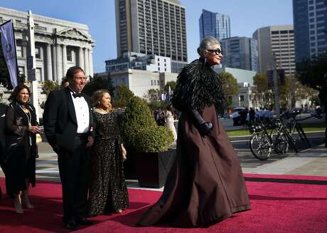 Joy Bianchi walks down the red carpet before the Opera Ball, celebrating the opening night of the San Francisco Opera Sept. 9, 2016 in San Francisco, Calif.