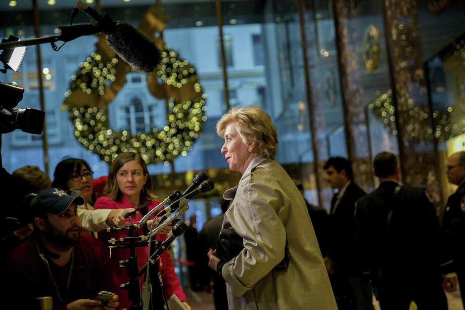 Linda McMahon, the wife of World Wrestling Entertainment Chief Executive Vince McMahon, speaks to reporters at Trump Tower, on Fifth Avenue in Manhattan, Nov. 30, 2016. Photo: Sam Hodgson /The New York Times / NYTNS