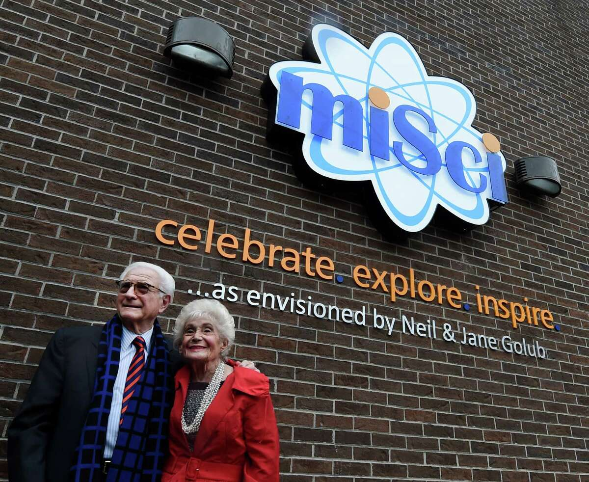 Neil and Jane Golub pose for a photo outside the Museum of Innovation and Science (miSci) where the pair was honored for their years of dedication to the museum on Wednesday, Nov. 30, 2016, in Schenectady, N.Y. (Skip Dickstein/Times Union)
