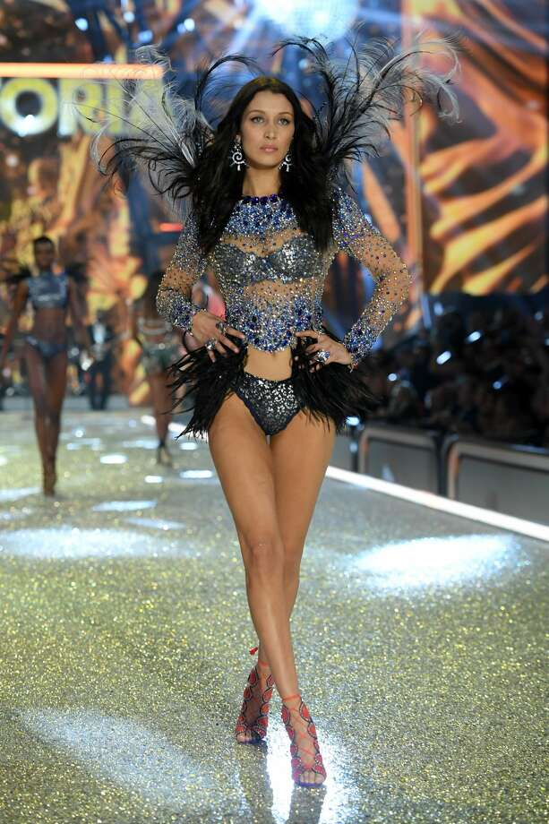 Bella Hadid, 20, doned a pair of feather wings for her first go at the 2016 Victoria's Secret Fashion Show. Photo: Dimitrios Kambouris/Getty Images For Victoria's Secret