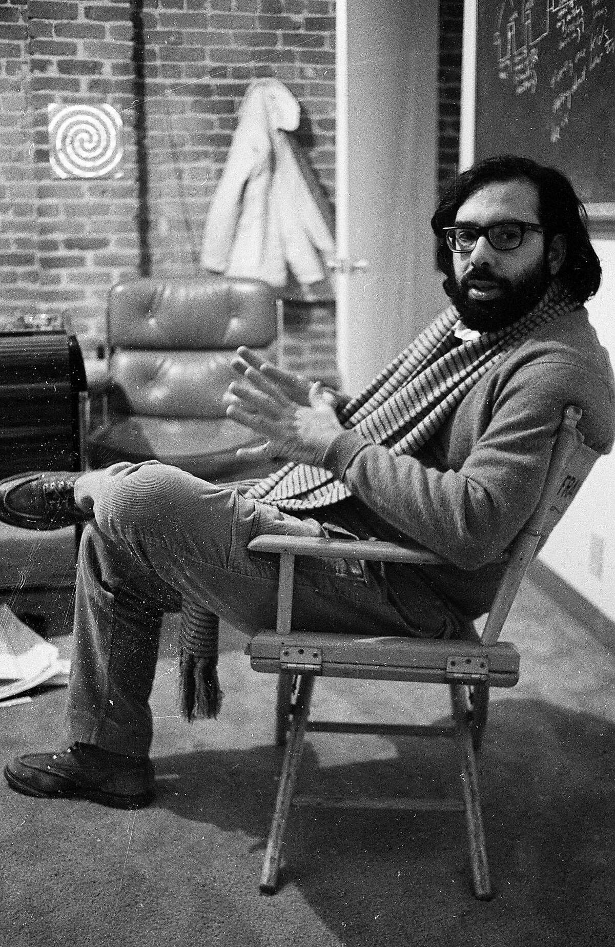 Francis Ford Coppola speaks with a San Francisco Chronicle reporter on Dec. 10, 1969at the new Zoetrope Studios on Folsom Street.