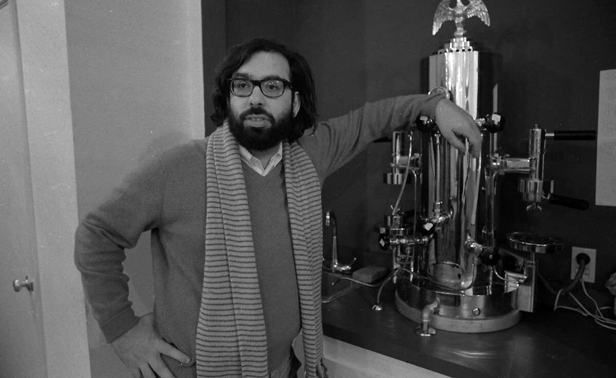 Francis Ford Coppola poses next to his espresso machine at Zoetrope Studios on Folsom Street on Dec. 10, 1969.