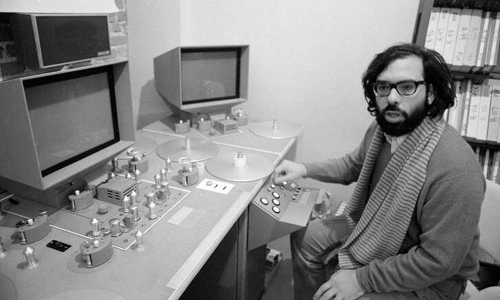 Dec. 10. 1969: Francis Ford Coppola shows off some new editing equipment at Zoetrope Studios on Folsom Street.