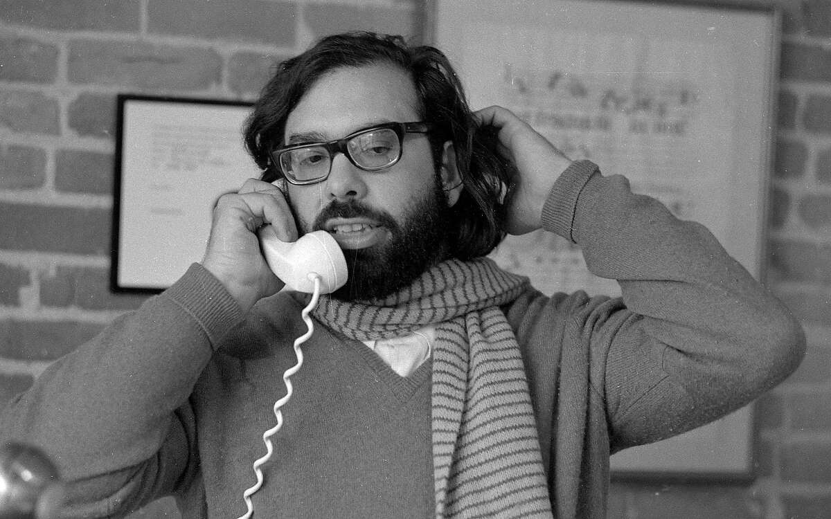 Dec. 10. 1969: Francis Ford Coppola on the phone at his then-new Zoetrope Studios on Folsom Street.