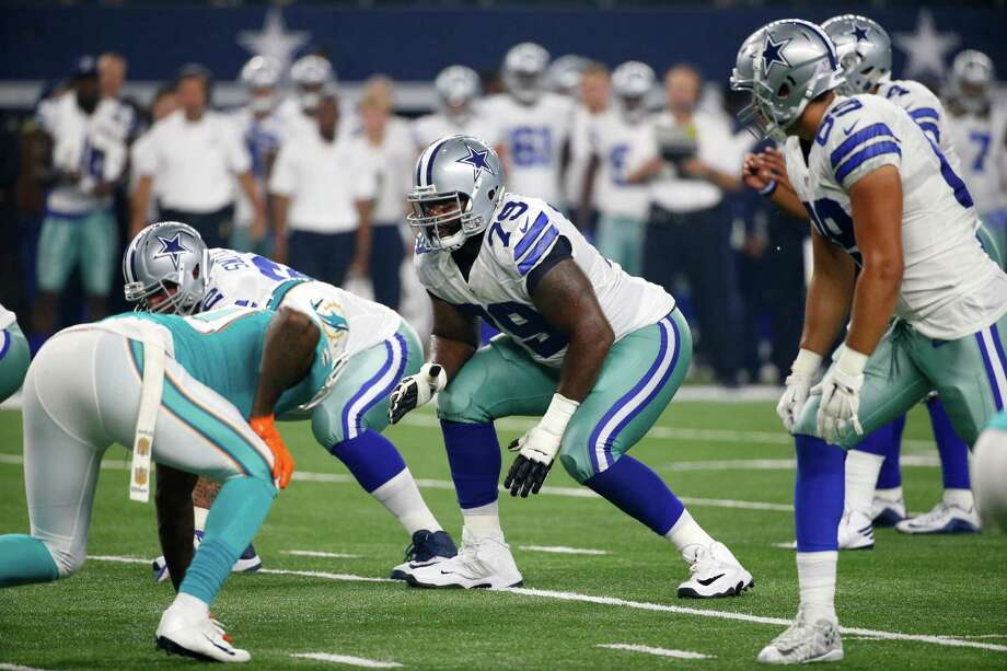 In this Friday, Aug. 19, 2016 file photo, Dallas Cowboys offensive tackle Chaz Green (79) lines up against the Miami Dolphins during an NFL preseason football game in Arlington, Texas. The fuel for this dazzling season for the Dallas Cowboys can be found up front, with an offensive line that's helped make this team a handful to try to stop. The Cowboys play the Minnesota Vikings on Thursday, Dec. 1, 2016. (AP Photo/Michael Ainsworth, File) Photo: Michael Ainsworth, Associated Press / FR171389 AP