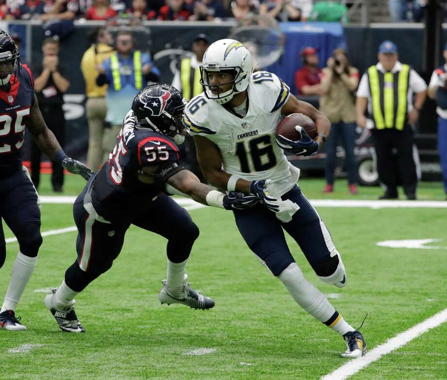 San Diego Chargers wide receiver Tyrell Williams (16) eludes Houston Texans' Benardrick McKinney (55) during the second half of an NFL football game Sunday, Nov. 27, 2016, in Houston. (AP Photo/David J. Phillip) Photo: David J. Phillip, Associated Press / Copyright 2016 The Associated Press. All rights reserved.