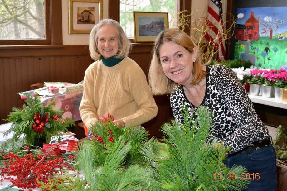 Grace Crary and Beverly Kenton help prepared for the Fort Orange Greens Sale. (Maggie Vinciguerra)