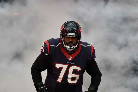 Houston Texans' Duane Brown is introduced before an NFL football game Sunday, Nov. 27, 2016, in Houston. (AP Photo/Eric Christian Smith)