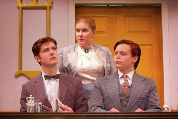 """The Sherman Playhouse will open its production of """"Life with Father"""" Dec. 2 at 8 p.m. Following opening night, the play will be staged Fridays and Saturdays at 8 p.m., as well as Dec. 4, 11 and 18 at 2 p.m. Above, cast members, from left to right, Tim Vlangas, Stacy-Lee Frome and Alex Desjardin, rehearse a scene from the production. Tickets are $22 for adults and $11 for children 12 and under. Patrons are invited to attend a half price night show Dec. 1 at 8 p.m. Students may see any performance for $11 so long as they pay in cash and carry a valid ID card. For more information and reservations, call the 5 Route 39 North theater at 860-354-3622."""