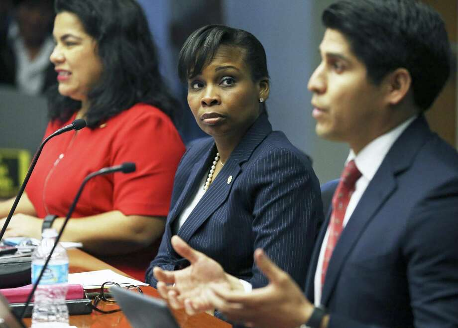 Mayor Ivy Taylor (center) listens to Rey Saldaña during a City Council meeting Wednesday, November 30, 2016. Photo: Tom Reel, Staff / San Antonio Express-News / 2016 SAN ANTONIO EXPRESS-NEWS