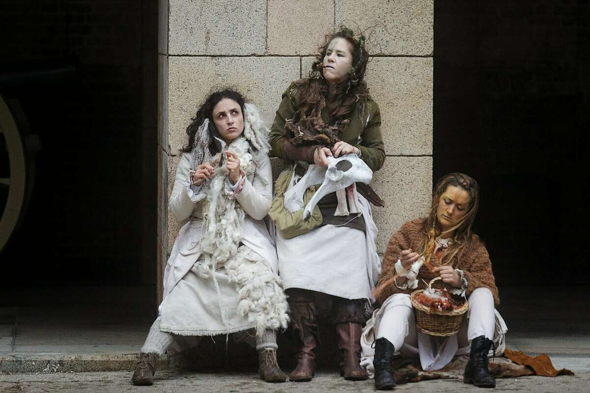 """From left: Maria Leigh,�Julie Douglas and Caroline Parsons in We Players' """"Macbeth at Fort Point,"""" 2014."""