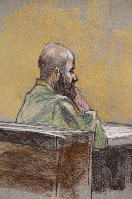Maj. Nidal Hasan during the final phase of his capital murder trial at Fort Hood, Thursday, Aug. 22, 2013. Closing arguments are expected today as Hasan faces 13 counts of premeditated murder and 32 counts of attempted premeditated murder. Photo: Brigette Woosley, Sketch Artist / San Antonio Express-News / ©2013 San Antonio Express-News