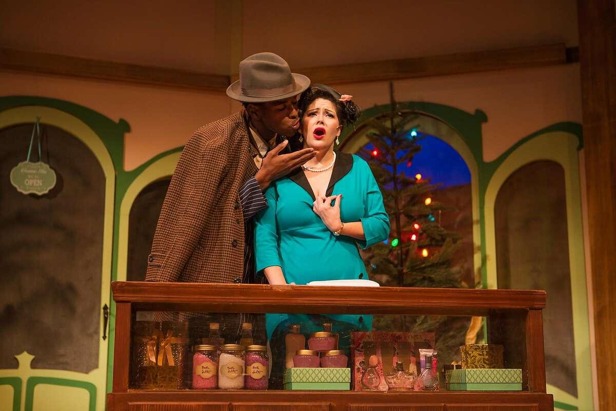 "Steven Kodaly (Rodney Earl Jackson Jr., left) seduces Ilona Ritter (Nanci Zoppi) in SF Playhouse's ""She Loves Me."""