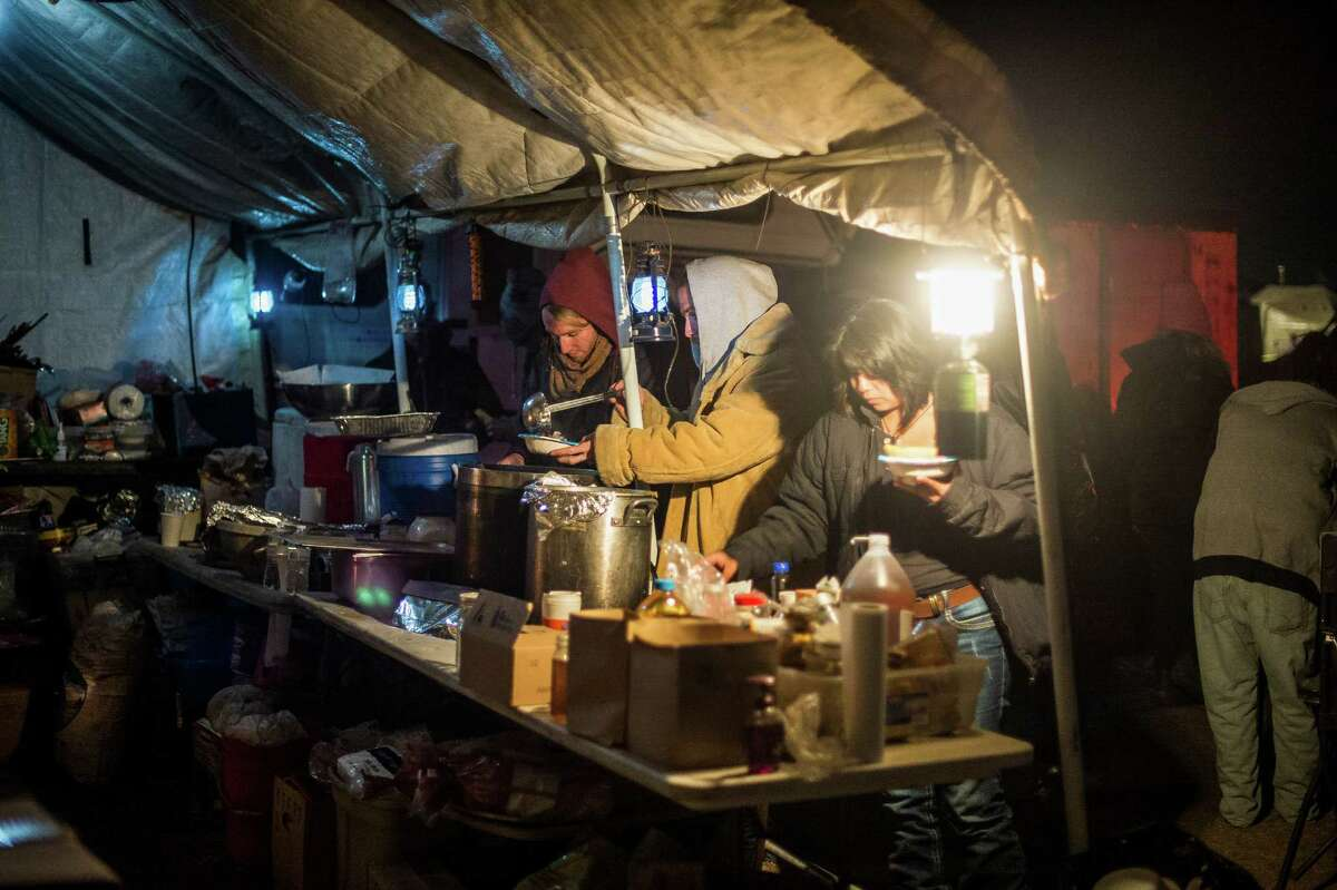 The Soup Kettle House, one of many ad-hoc kitchens feeding the thousands protesting the Dakota Access pipeline, on the Standing Rock Sioux Reservation in Cannon Ball, N.D., Nov. 10, 2016. Feeding the army of protesters has become a political struggle of its own, reflecting the dietary mores of various tribes as well as many vegetarian or vegan non-natives. (Deborah Kates/The New York Times)