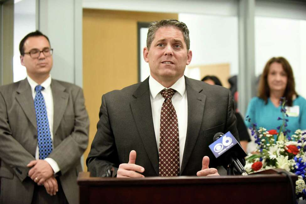 Schenectady School District Superintendent Larry Spring, center, announces their partnership with Hometown Health Centers the during a news conference on Wednesday, Nov. 30, 2016, at Schenectady High in Schenectady, N.Y. (Cindy Schultz / Times Union)