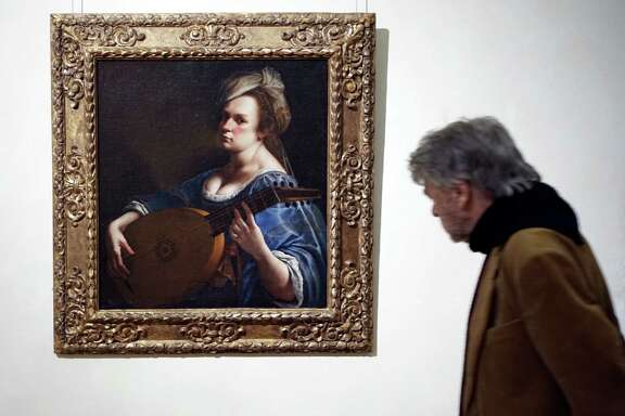 """Self-Portrait as a Lute Player"" by Italian artist Artemisia Gentileschi,  who was rare female artist in the 17th century.  on display at Rome's Braschi Palace museum, Tuesday, Nov. 29, 2016. The Braschi museum is hosting the 'Artemisia Gentileschi and her Times' exhibition from Nov. 30, 2016 to May 7, 2017. (AP Photo/Andrew Medichini)"