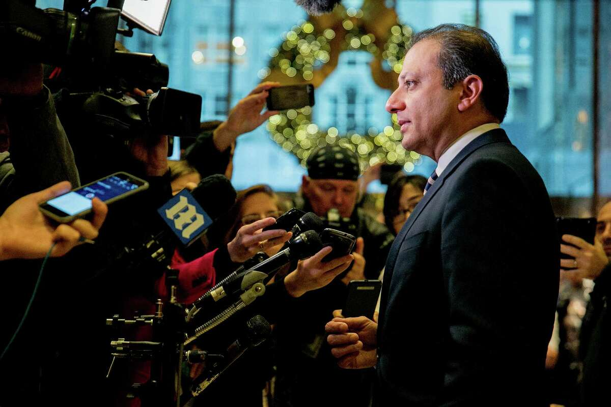 Preet Bharara, the United States attorney for the Southern District of New York, speaks with reporters after meeting with President-elect Donald Trump, at Trump Tower, on Fifth Avenue in Manhattan, Nov. 30, 2016. (Sam Hodgson/The New York Times) ORG XMIT: XNYT67
