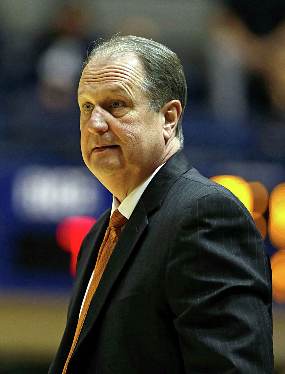 Houston Baptist head coach Ron Cottrell during the first half of men's college basketball game action, in Houston.