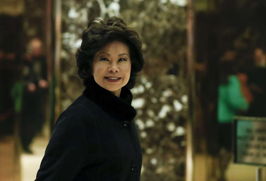 Former Labor Secretary Elaine Chao arrives at Trump Tower, Monday, Nov. 21, 2016 in New York, to meet with President-elect Donald Trump. (AP Photo/Carolyn Kaster) Photo: Carolyn Kaster, Associated Press