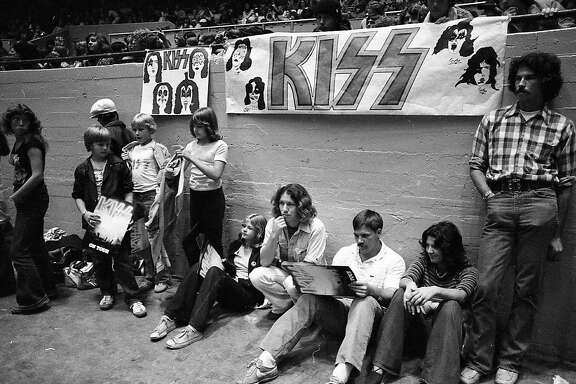 Fans enjoy a Kiss concert at the Cow Palace in 1977.
