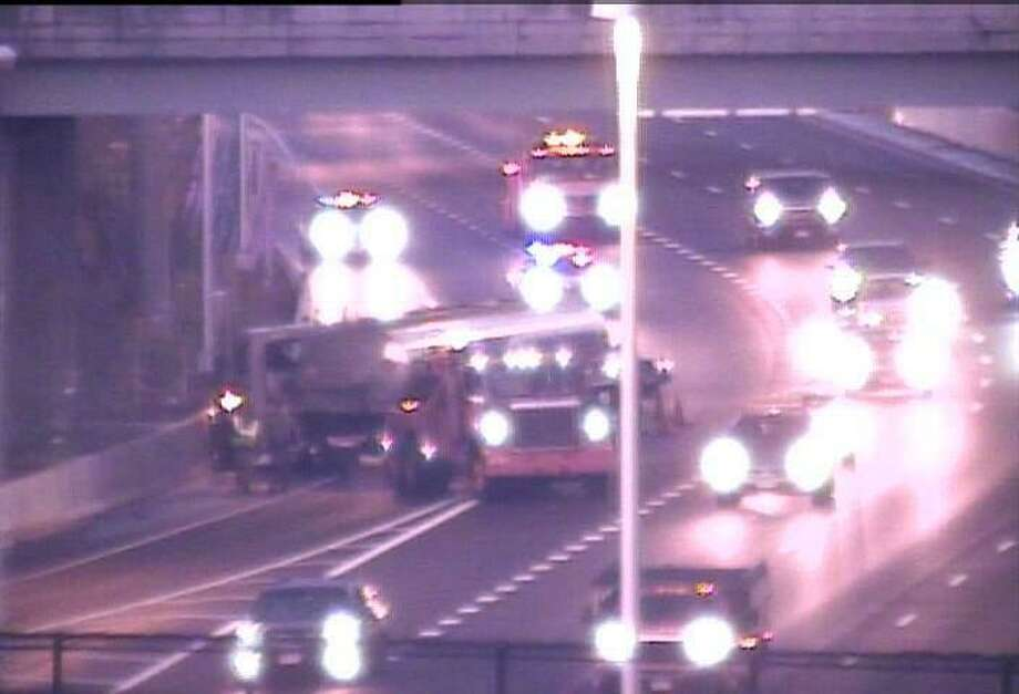 Scene of truck crash on I-95 NB in Norwalk Photo: CT DOT