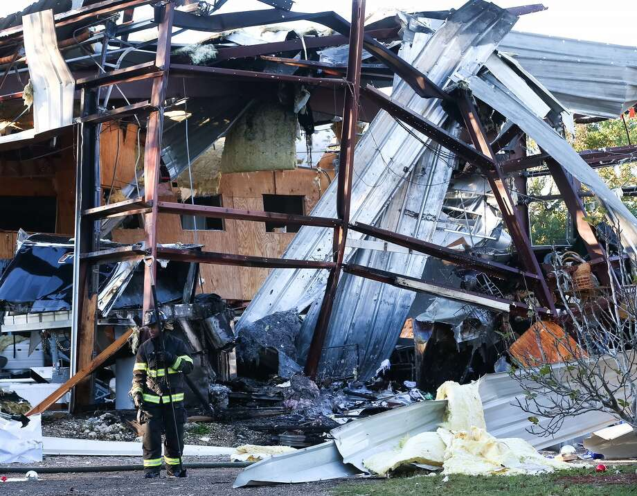 Authorities investigate an over-night explosion that destroyed part of a building, in the 300 block of Brand Ln., Thursday, Dec. 1, 2016, in Stafford. ( Jon Shapley / Houston Chronicle )