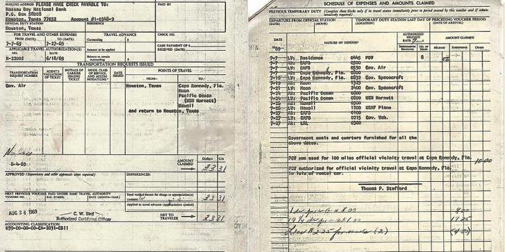 Buzz Aldrin tweets his travel voucher reimbursement documents, claiming just $33.31.