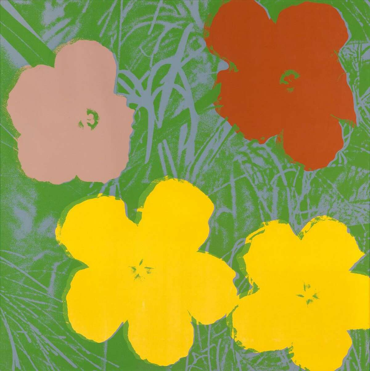 """""""Flowers,"""" by Andy Warhol, will be on display at Heather Gaudio Fine Art on Elm Street through Feb. 4, 2017 as part of Lasting Impressions, an exhibition of colorful prints, in New Canaan, Conn."""
