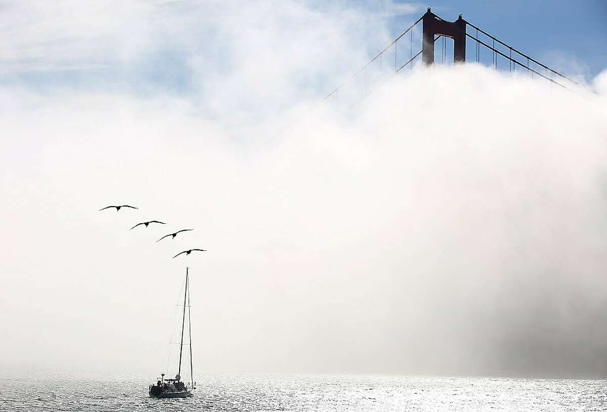 Fog rolls over the bay at Golden Gate Bridge. Could skywriting be seen?
