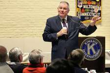 Connecticut Supreme Court Justice Dennis Eveleigh speaks at Wilton Kiwanis' weekly lunch and talk on Nov. 30 at the Wilton Episcopal Presbyterian Complex, 48 New Canaan Road.