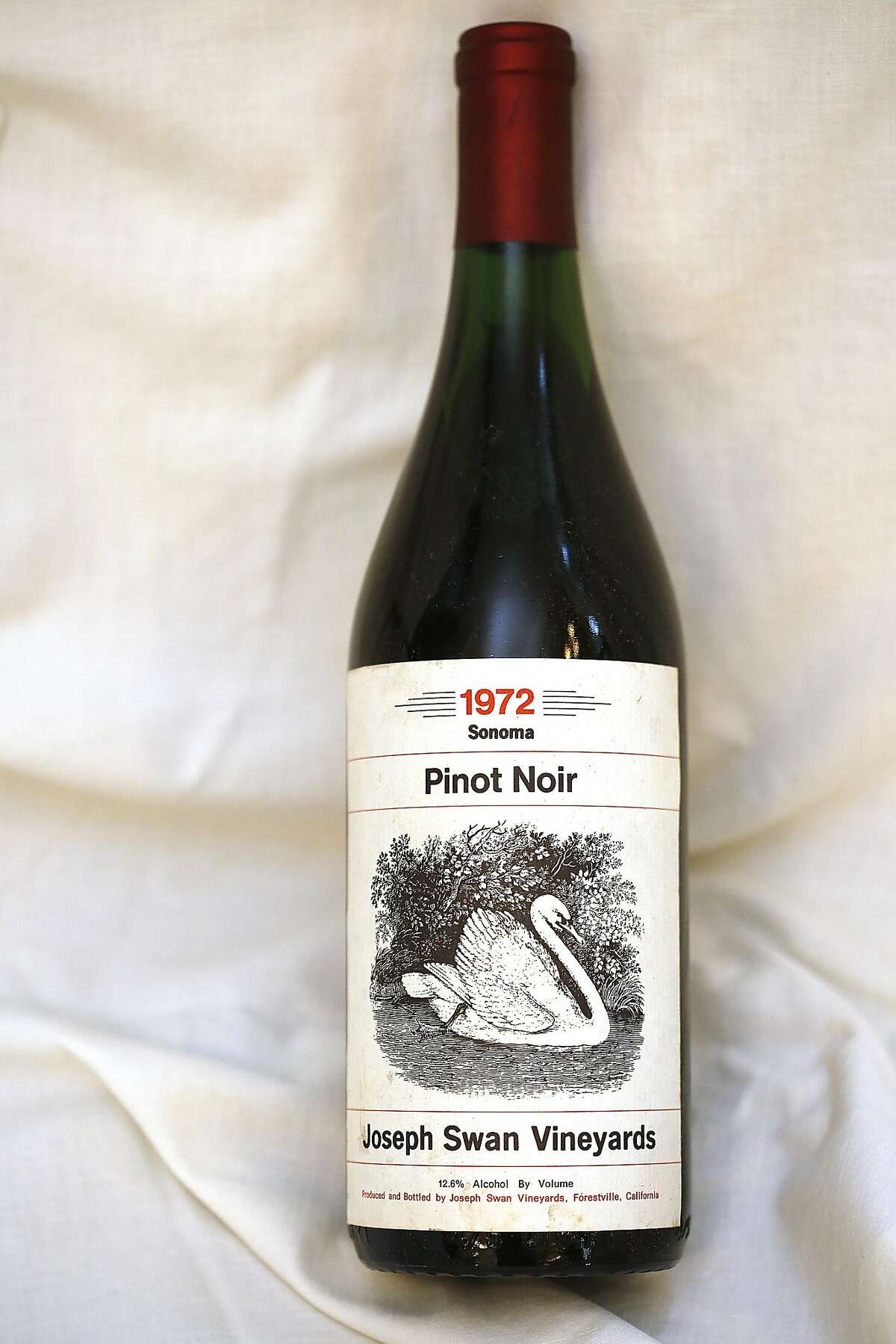 Joseph Swan Vineyards 1972 Pinot Noir on Monday, November 11, 2016, at home in Petaluma, Calif.