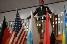Youssef Agiez, 20, of Cairo, Egypt, the president of the student body at the University of Bridgeport, stands in the student center.