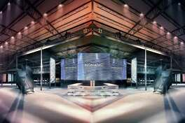 Renderings of Club Nomadic, which will be constructed in Houston for the Super Bowl.